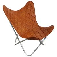 Butterfly Chair Sessel Design Lounge Stuhl Leder braun Loungesessel Retro Art