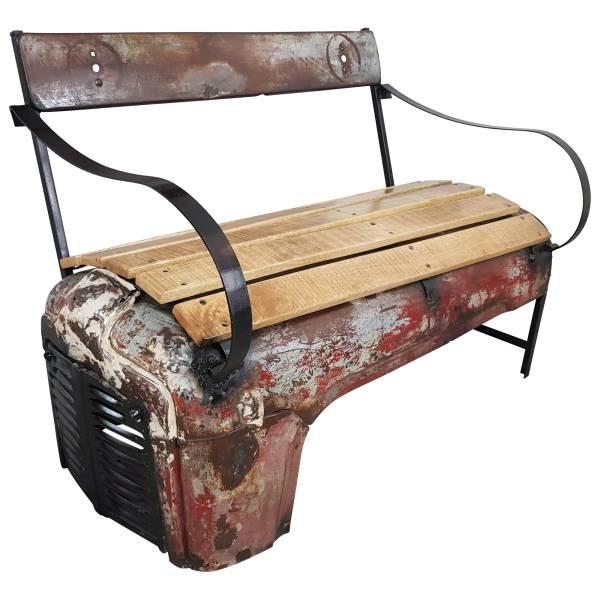 Traktor Sitzbank als 2 Sitzer Möbel Bank Sofa Design Metall Vintage use Ferguson