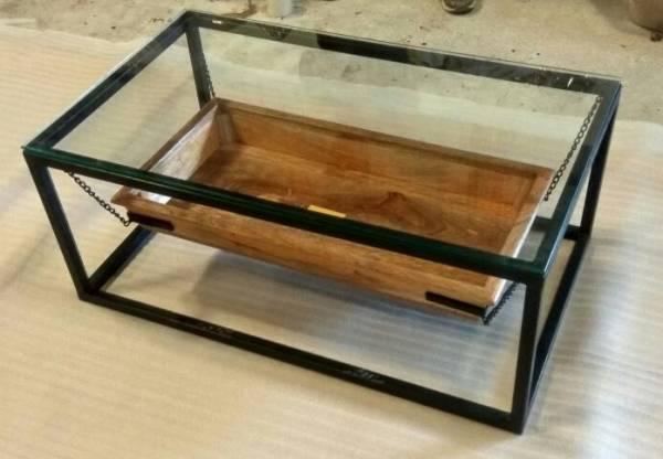 Couchtisch Lounge-Tisch Filippa Kette Mango-Holz Metall-Gestell Industrie-Design