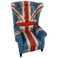 Sessel Clubsessel Ohrensessel Union Jack UK Flagge Motiv England Chesterfield